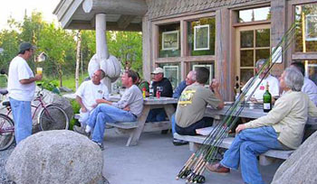 Gathering outside Tower Rock Lodge