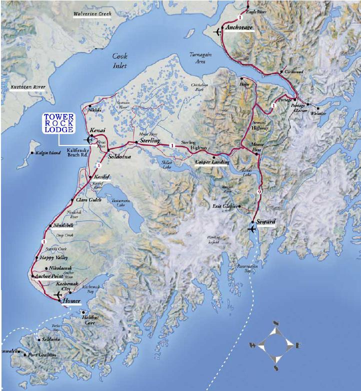 Maps And Directions To Tower Rock Lodge, Kenai River, Alaska